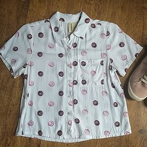 Donut Lovers Button Up Top! Jrs Small